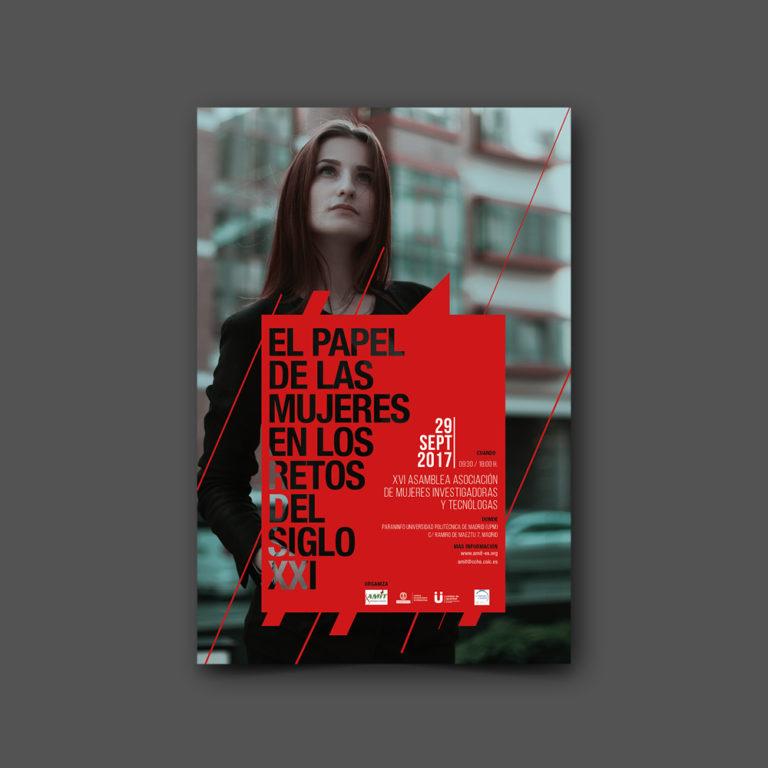 diseño gráfico de cartel el papel de las mujeres